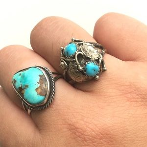 Vintage sterling silver turquoise Blossom ring